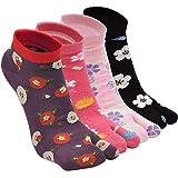 Tabi Socks - Calcetines de algodón para mujer, 2 puntos, calcetines kimono de la novedad, calcetines japoneses, patrón de Sakura tobillera, talla 4-9, 4/5 pares