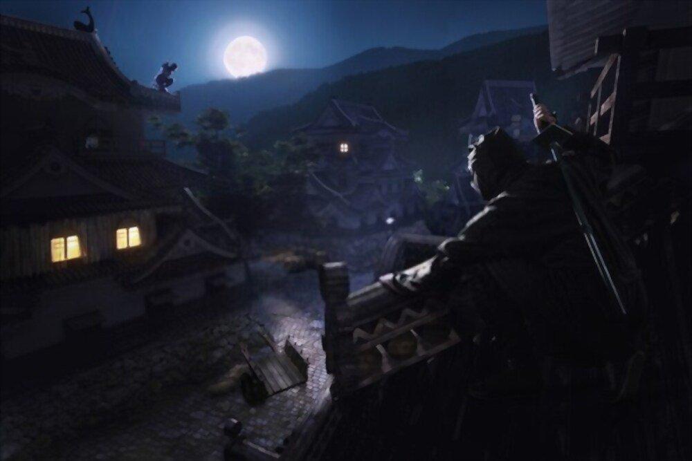 Ninjas en la noche de japón